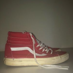 Red and White Hightop Vans